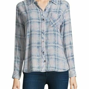 Rails Hunter L Plaid Button Down Shirt Rose Indigo